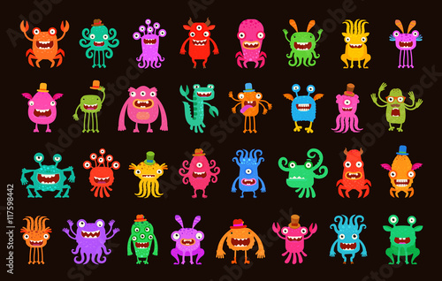 Fotografía  Big collection of cartoon funny monsters. Vector illustration