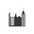 city silhouette urban building towers icon. Isolated and flat illustration. Vector graphic