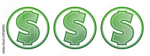 Pinturas sobre lienzo  Dollar symbol