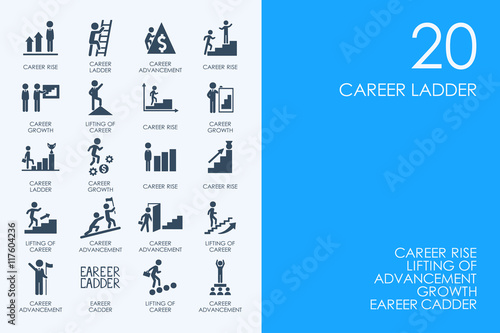 Photo  Set of BLUE HAMSTER Library career ladder icons