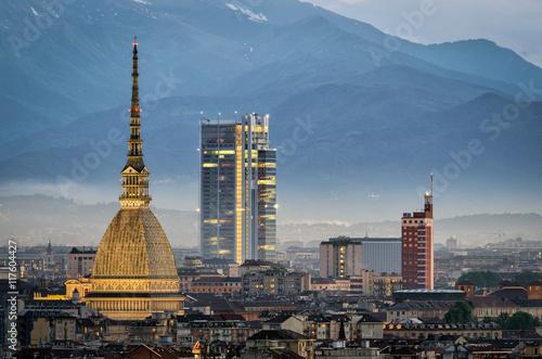 Obraz na plátně Torino panorama with close-up on the Mole Antonelliana