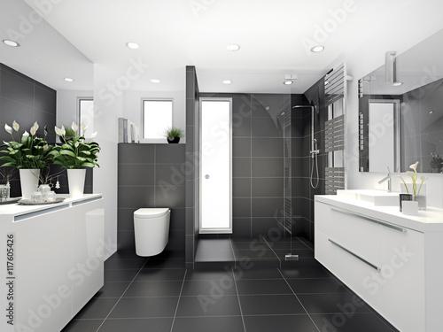Fotografiet  Bad mit Dusche und WC