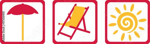Tablou Canvas Parasol, beach chair and sun - Vacation equipment