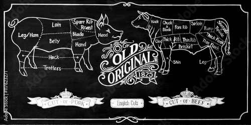 Fotografie, Obraz  drawing of beef and pork cut