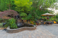 Backyard Landscaping Patio With Waterfall Pond
