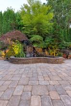 Paver Brick Patio With Waterfa...