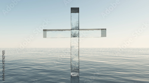 Canvas Glass cross in the sea