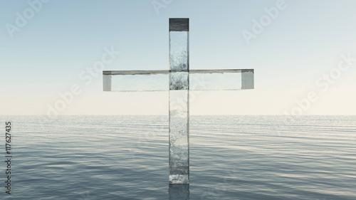 Glass cross in the sea Fotobehang