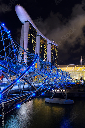 Fotografia, Obraz  night view of Singapore downtown and marina bay