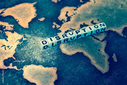 Fotografie, Obraz  DISRUPTION on grunge world map