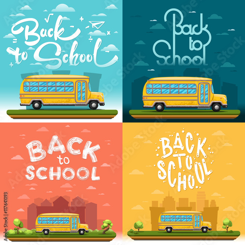 School Bus On Landscape Four Banners With Lettering Or Calligraphy