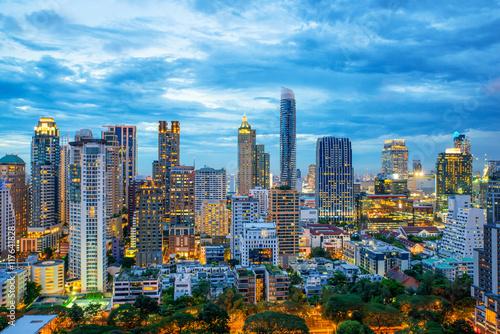 In de dag Bangkok Bangkok city skyscrapers and Bangkok skyline at night in Bangkok