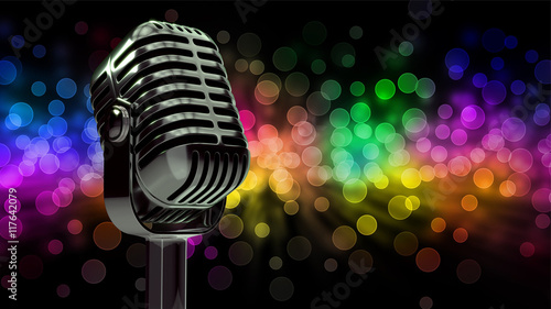 Fotografía  3d illustration of microphone in concert hall with blurred lights at background