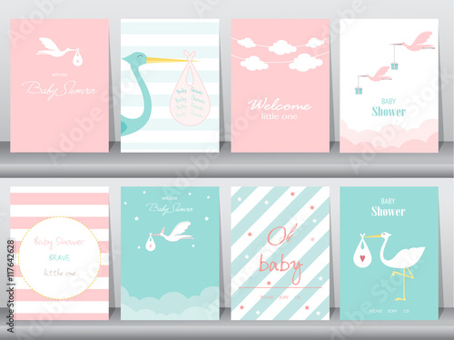 Fotografía  Set of baby shower invitations cards,poster,greeting,template,stork,Vector illus