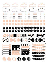 Minimalistic Set Of Elements For Creating Planner Stickers In Vintage Pink And Black.Set Includes Weekend Banners,small Flags Dots,movie Marquee And Weather Icons.Vector Clipart.Clipart
