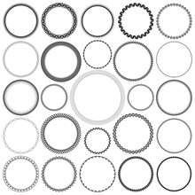 Collection Of Round Decorative Border Frames With Clear Background. Ideal For Vintage Label Designs.