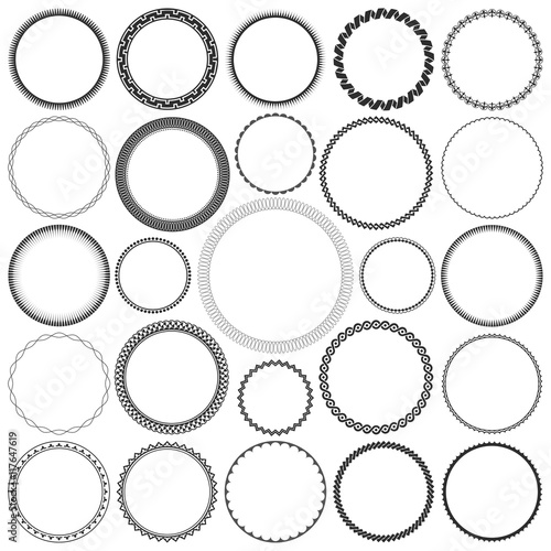 Photo  Collection of Round Decorative Border Frames with Clear Background