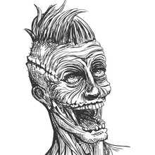Vector Illustration Of A Hand Drawn Scary Zombie Character
