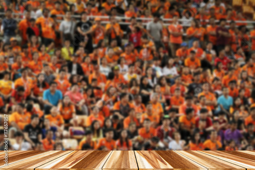 Perspective wood and Empty top wooden shelves of Soccer fans in