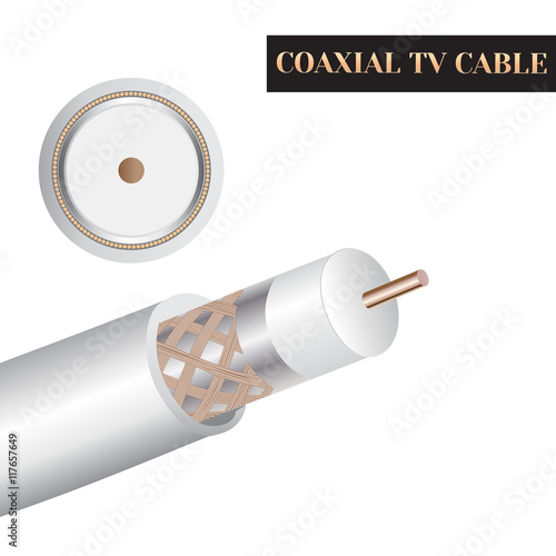 Fotografía  Coaxial TV cable structure. Kind of an electric cable.