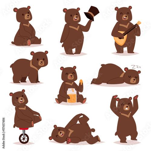 Fotografie, Obraz  Cartoon bear vector set.