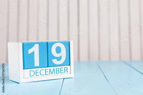 December 19th Day 19 Of Month Calendar On Wooden Background Winter Time Empty Space For Text