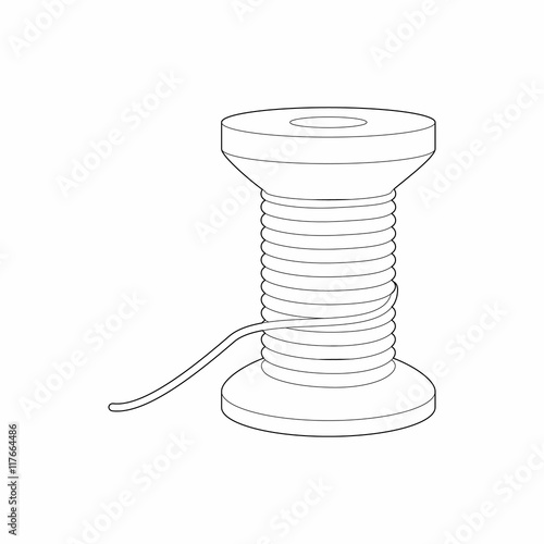 Spool of thread icon in outline style isolated on white background ...