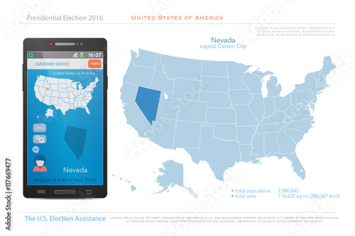 United States Of America Maps And Nevada State Territory Vector Usa