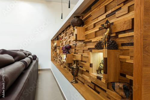 Cubist ornament shelves crafted in wood , closup Wallpaper Mural