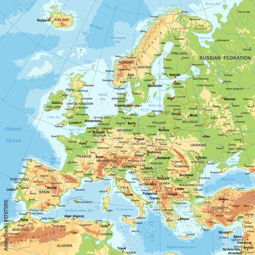 Obraz na plátně Europe - Physical Map