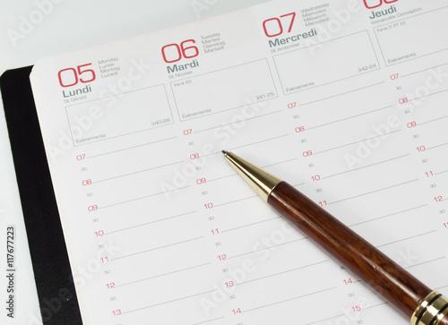 Fotografía  agenda et stylo