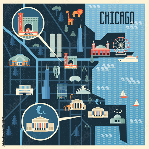 Vector illustration of map with landmarks of Chicago. Famous places on