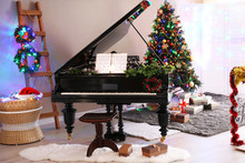 Piano With Christmas Decorations