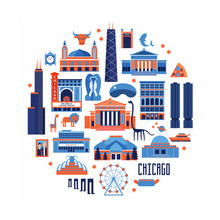 Blue And Red Vector Set Of Chicago' Famous Landmarks. Flat Style Designed Historic Buildings, Sightseeing And Known Museums On White Background.