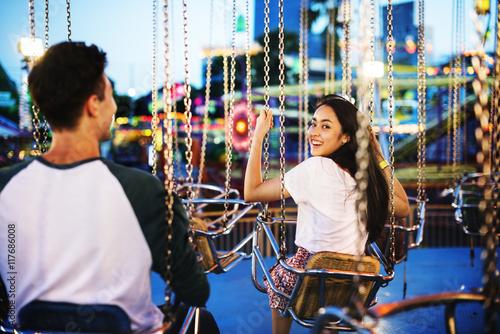 Poster Amusement Park Couple Dating Amusement Park Enjoyment Hugging Concept