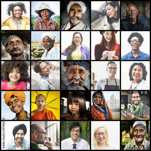 Obraz Diverse Ethnic Diversity Ethnicity Community Concept - fototapety do salonu