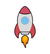 Rocket spaceship science technology icon. Isolated and flat illustration. Vector graphic