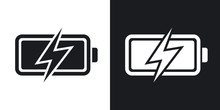 Vector Battery Icon, Stock Vector.  Two-tone Version On Black And White Background