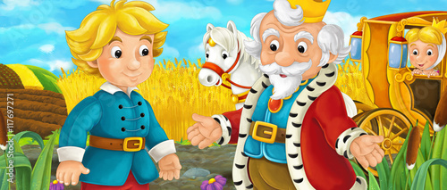 Cartoon scene with royal pair driving through the pastures - king talking to prince - illustration for children