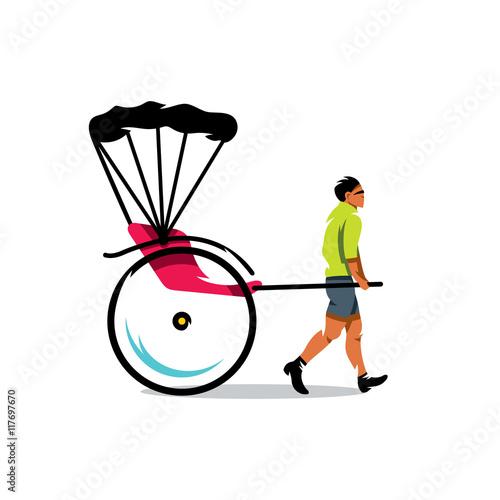Fényképezés  Vector China Rickshaw Cartoon Illustration.