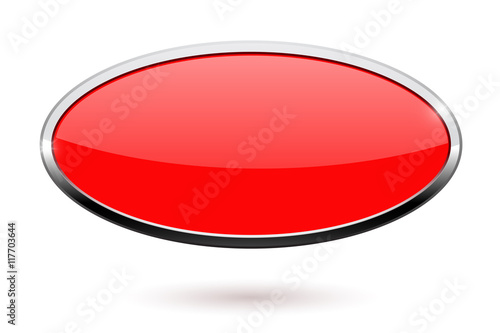 Fotografía  Oval red button with chrome frame