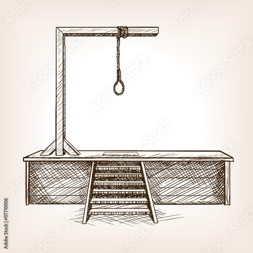 Photo Gallows sketch style vector illustration