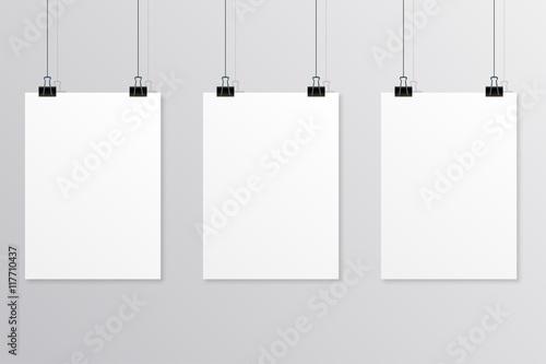 Fototapeta Hanging paper poster on wall poster. Vector illustration obraz