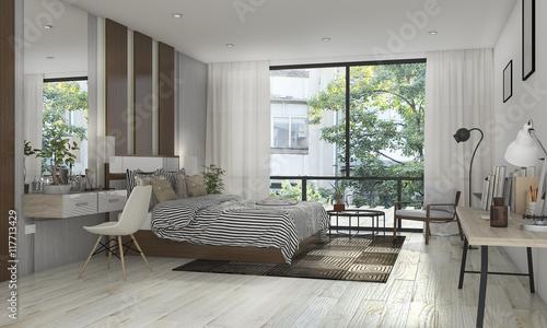 Obraz 3d rendering beautiful bedroom with nice decoration near terrace - fototapety do salonu