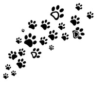 Black Dog Paw Print Vector Ill...