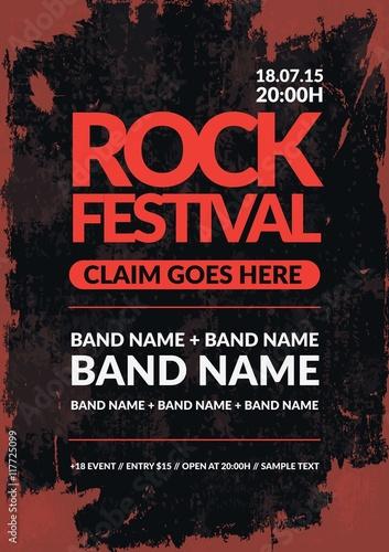 rock festival poster in grunge style © Freepik