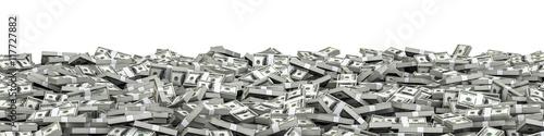 Fotografie, Obraz  Panorama stacks dollars / 3D illustration of panoramic stacks of hundred dollar