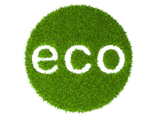 Fototapeta Eko Eco sign round stamp from green grass