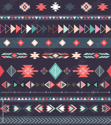 Aztec tribal pattern with geometric elements - 117730807