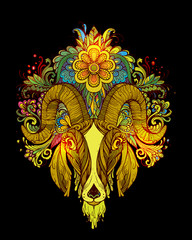 Hand drawn Ornamental Tattoo Goat Head. Highly Detailed Abstract Isolated.